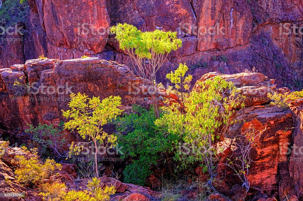 Remote rocky gorge colours at sunset stock photo