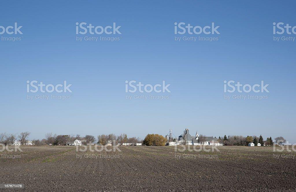 remote rural town on prairie royalty-free stock photo
