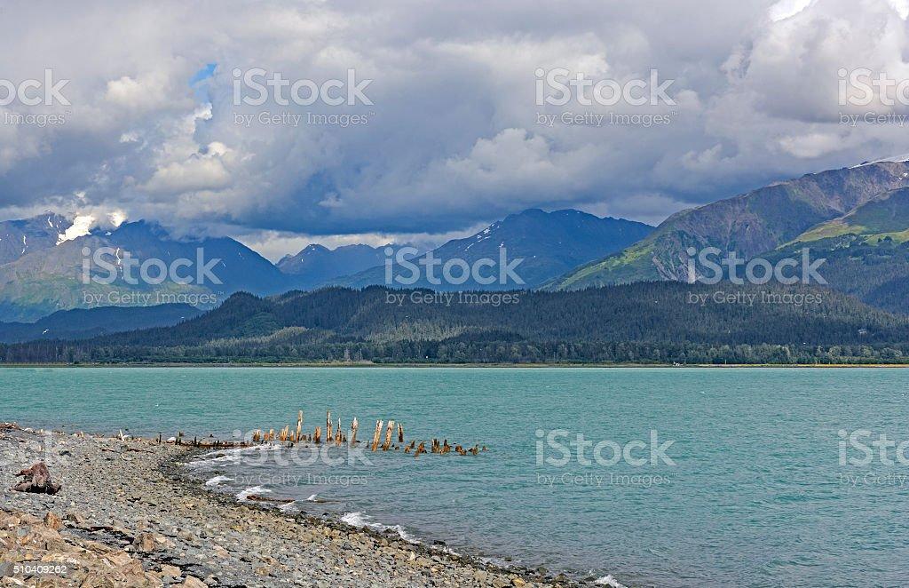 Remote Shore in an Ocean Bay stock photo