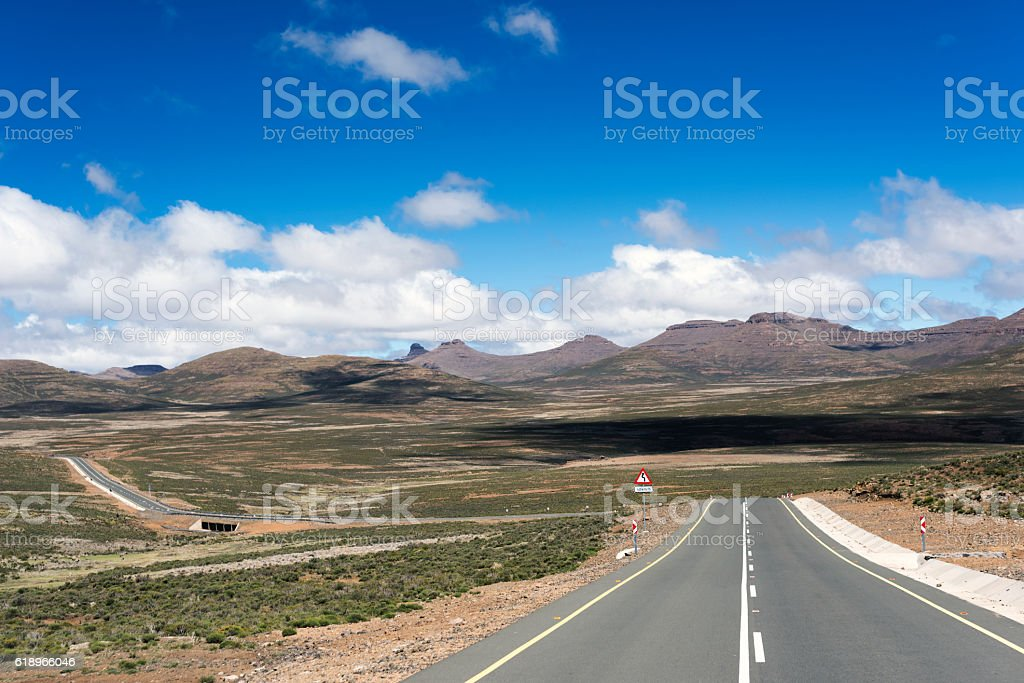 Remote Tarred Road In Lesotho Africa stock photo