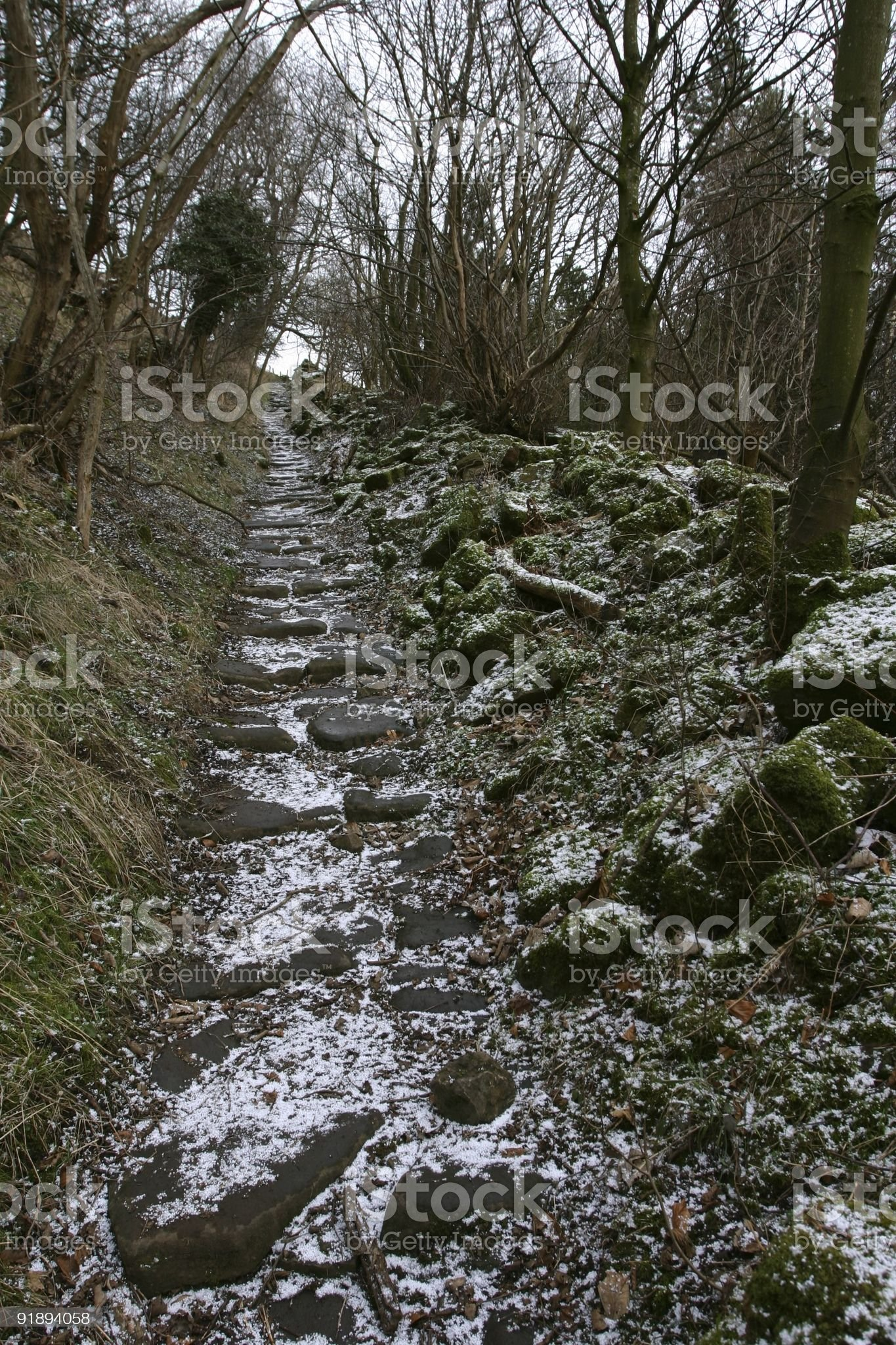 remote track in Yorkshire countryside with snow royalty-free stock photo