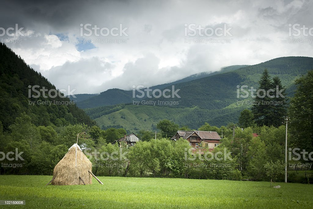 Remote Village before the storm royalty-free stock photo