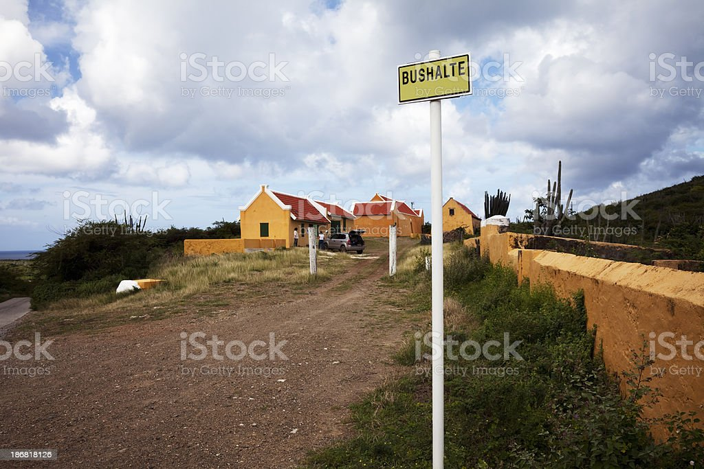 Remote village bus stop, Curacao stock photo