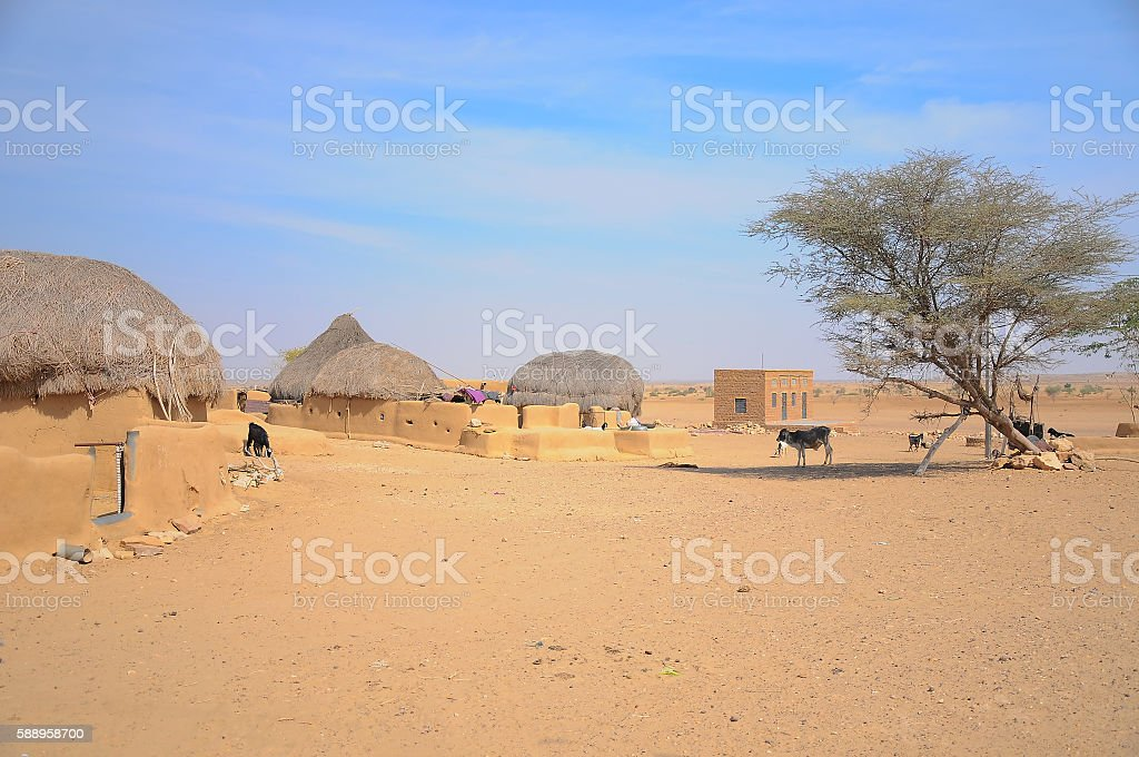 Remote village in Thar Desert, Rajasthan, India stock photo