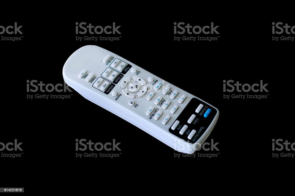 Remote white isolated on black background stock photo