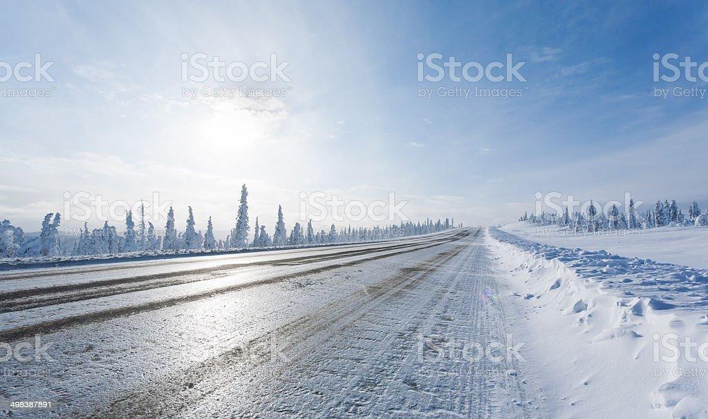 Remote Winter Highway stock photo