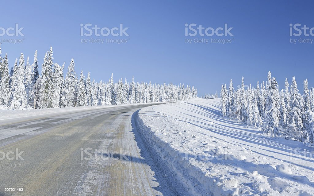 Remote Winter Highway stock photo