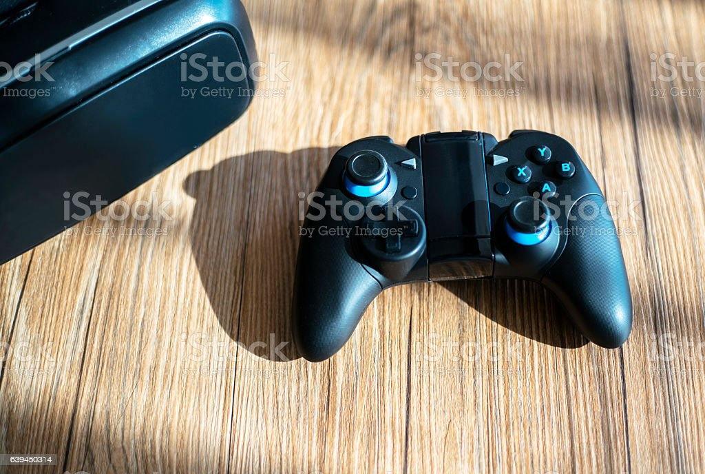 remote-control handle and VR glasses stock photo