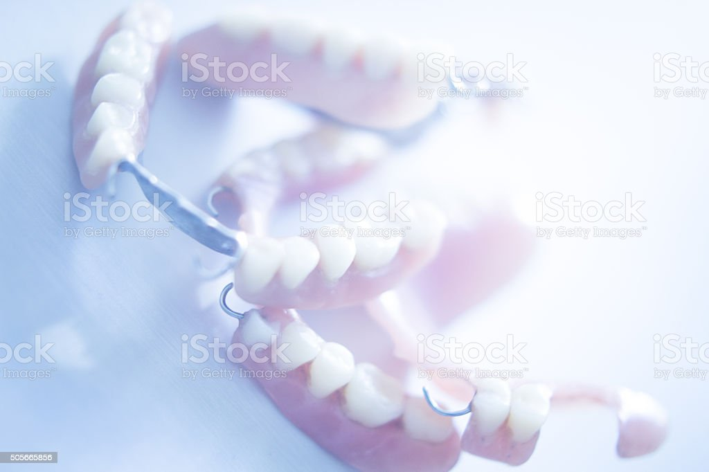Removable partial dentures stock photo