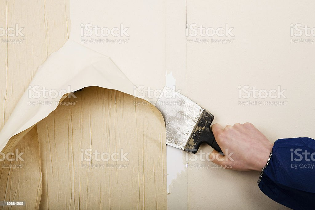 removal of old wallpapers stock photo