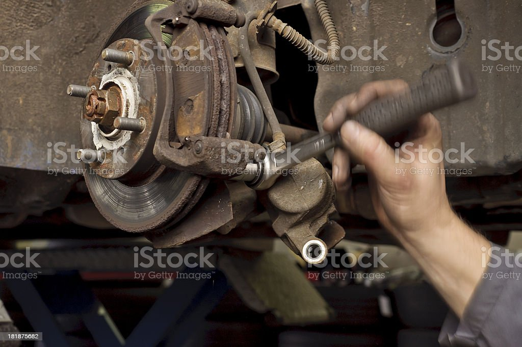 Removal of the old brake stock photo