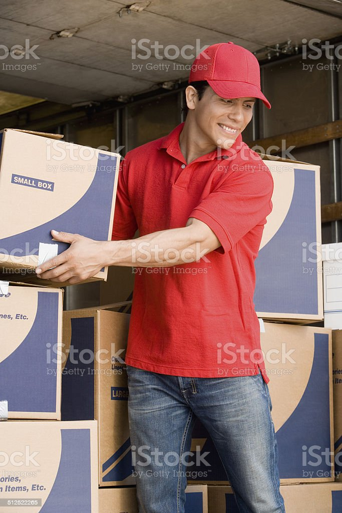 Removalist moving boxes stock photo