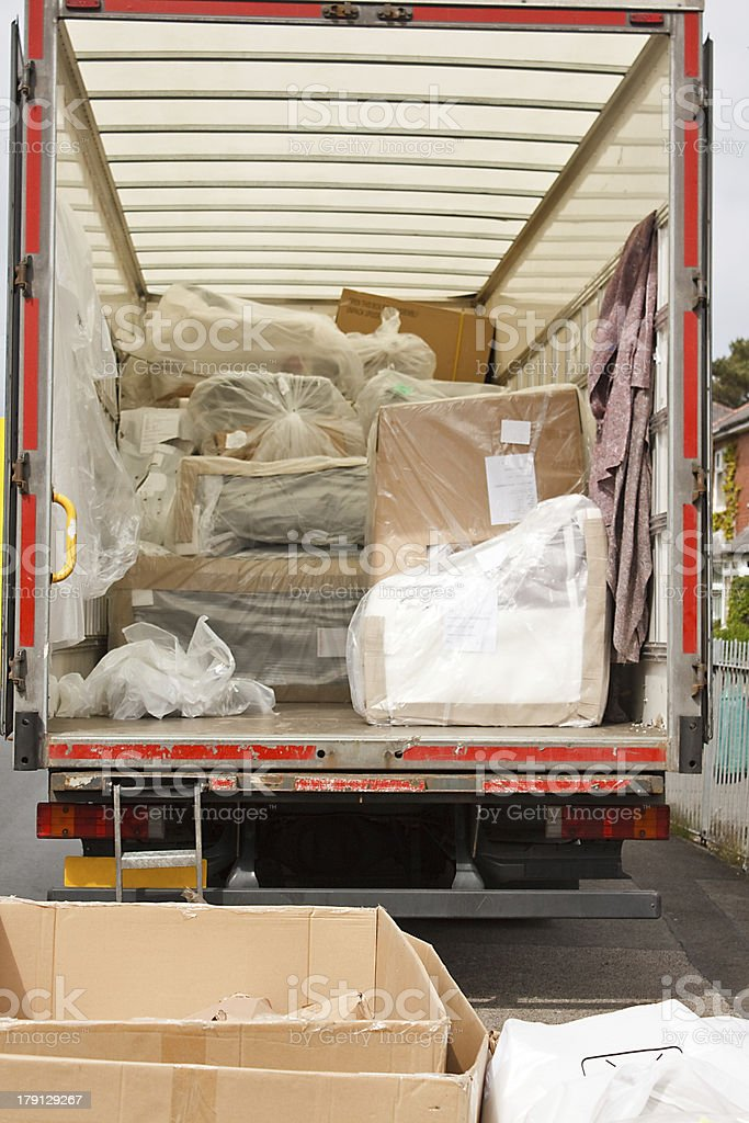 removals van or truck stock photo