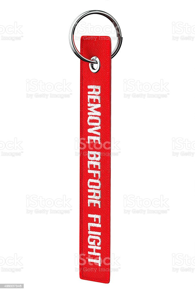 Remove Before Flight Tag stock photo
