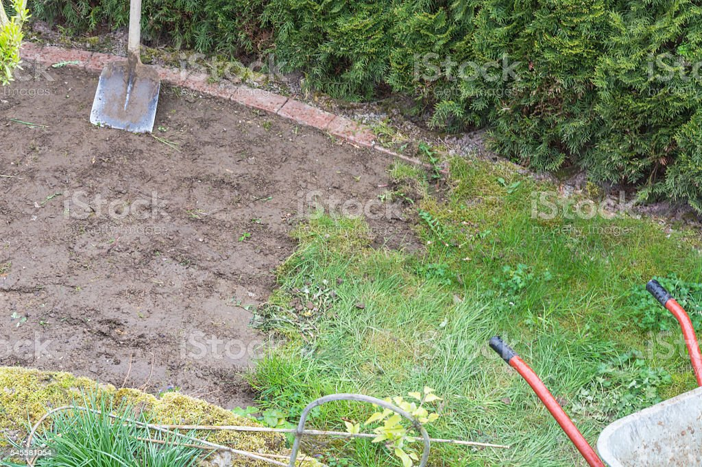 Remove of the old grass sward stock photo