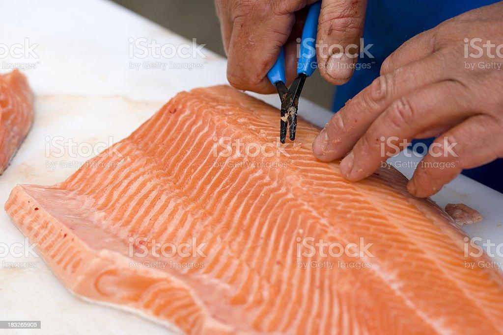 Removing bones from salmon stock photo