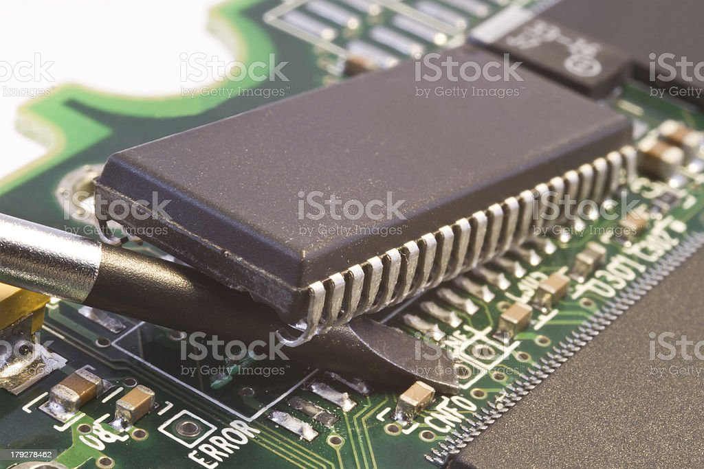 removing computer chip stock photo