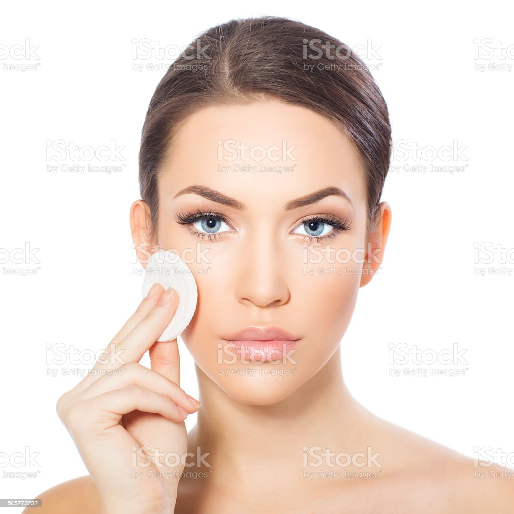 Removing make up stock photo