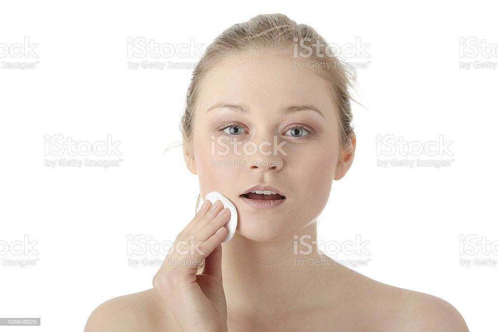 Removing Make-Up stock photo