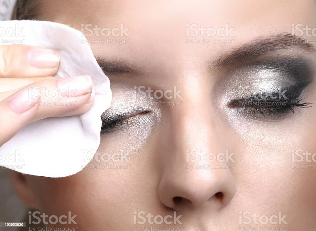 Removing makeup stock photo