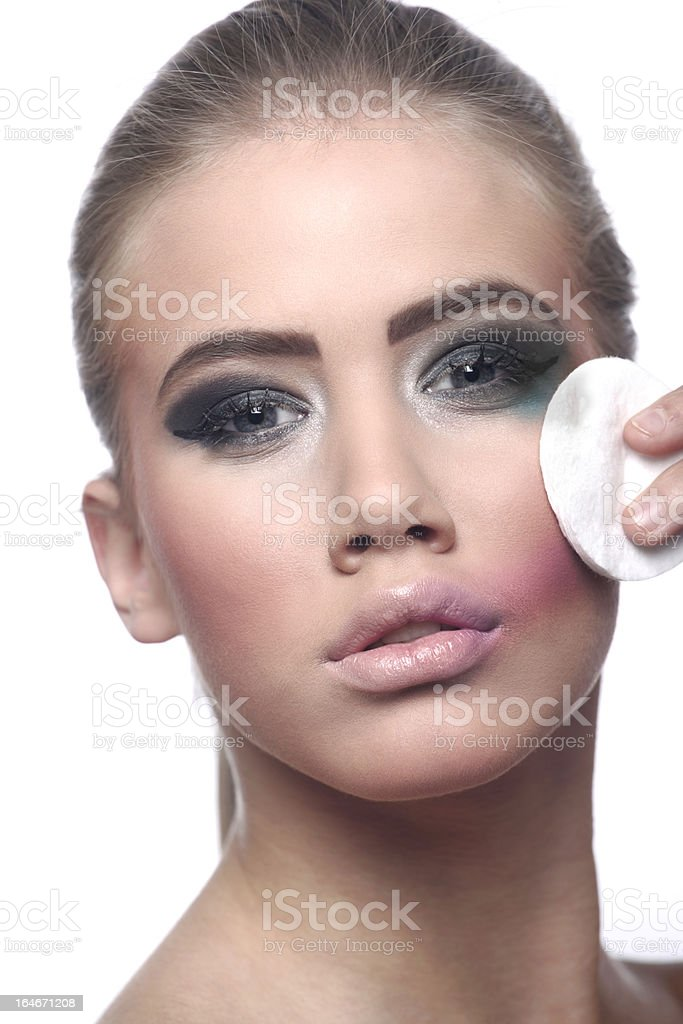 Removing make-up royalty-free stock photo