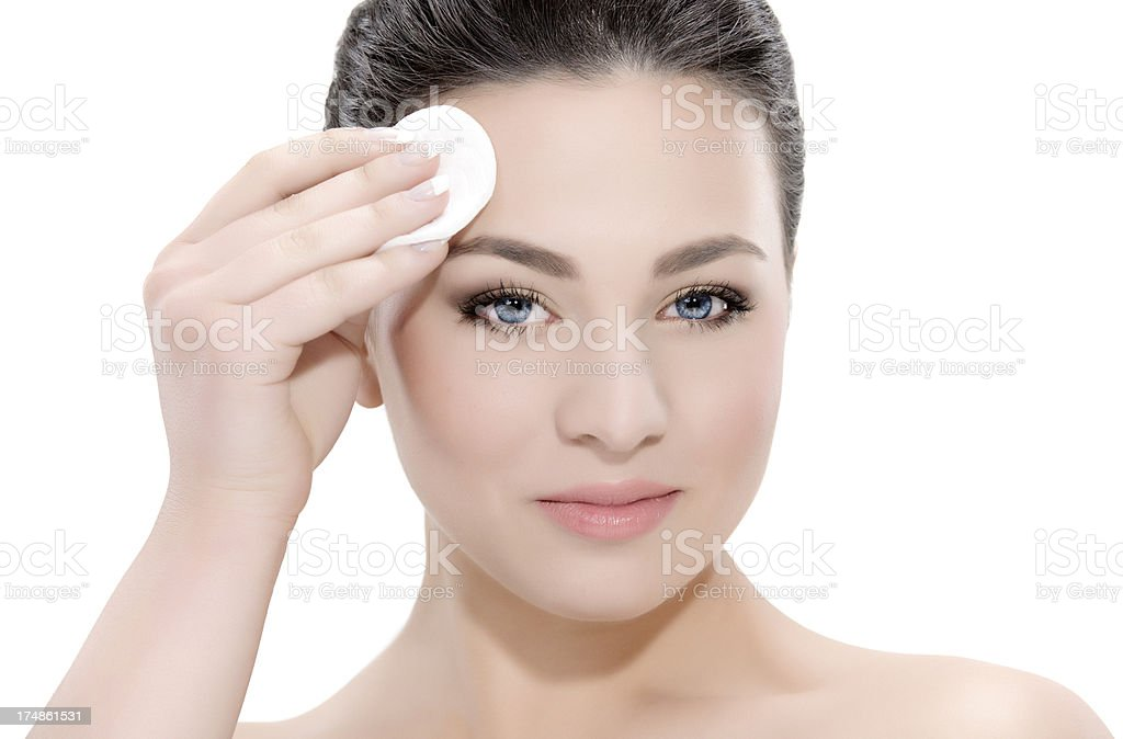 removing makeup royalty-free stock photo