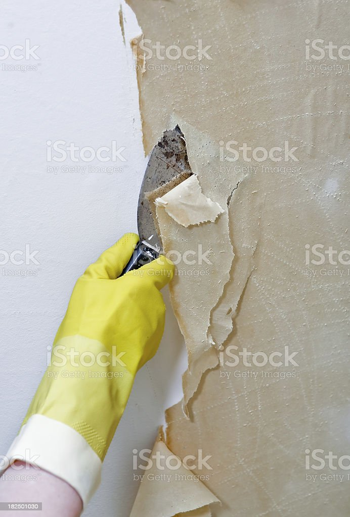 removing old wallpaper III royalty-free stock photo