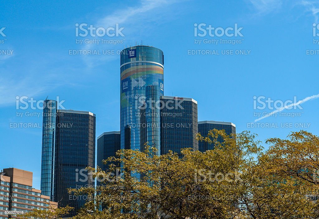 GM Renaissance Center, Rencen in Detroit - General Motors headquarter stock photo