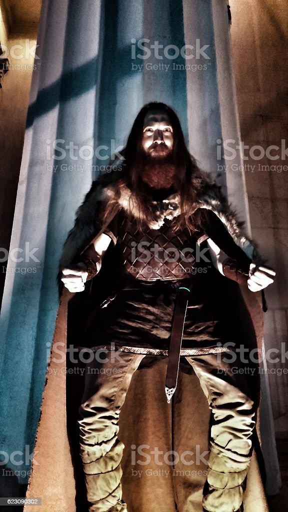 Renaissance Gladiator Viking Medieval LARP Halloween Authentic Costumed Armoured Man stock photo