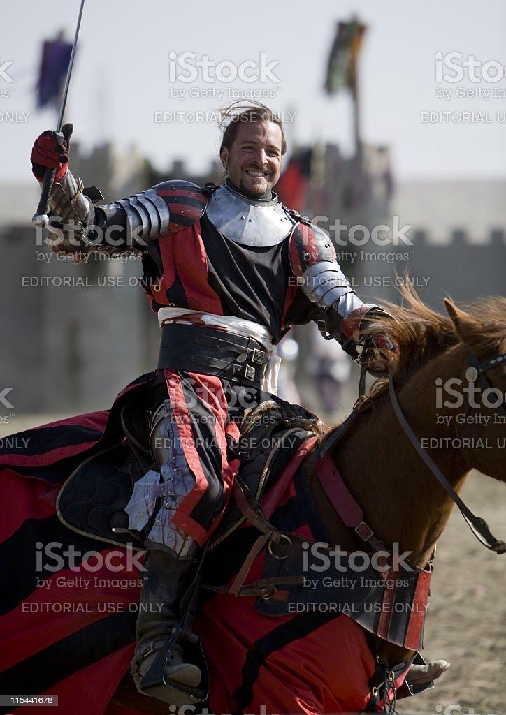 Renaissance Pleasure Faire - Knight on Horseback stock photo