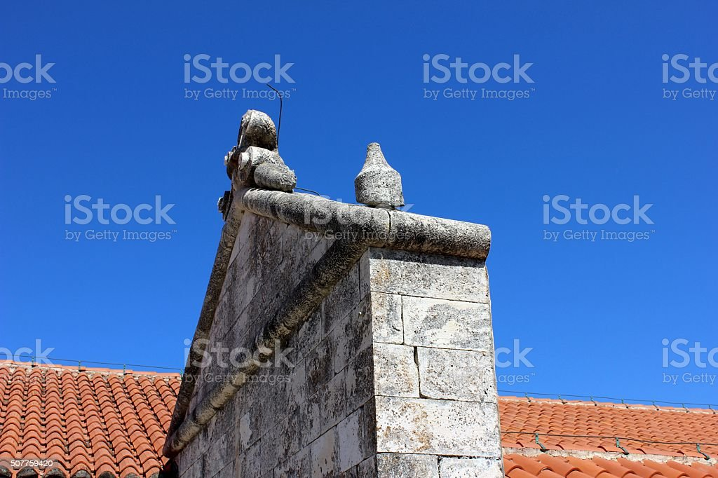 Renaissance portico detail of ancient house with the red roof stock photo
