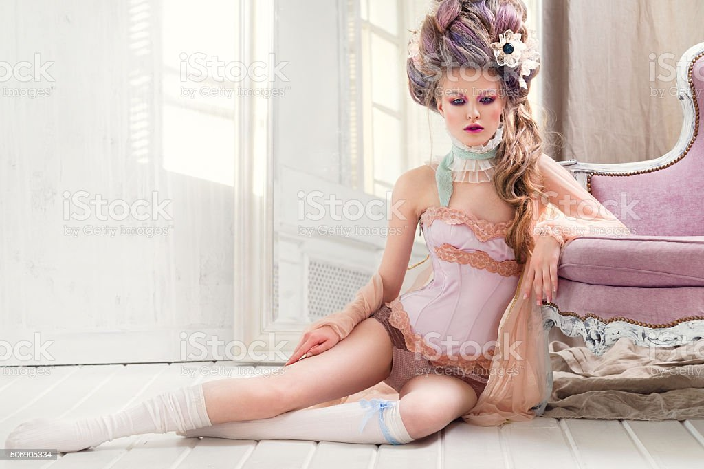 Renaissance woman on the floor stock photo