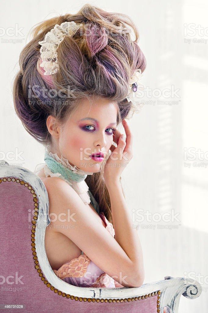 Renaissance woman portrait stock photo