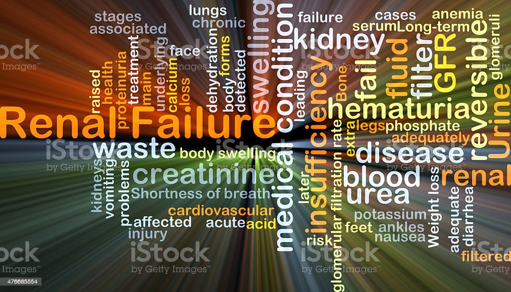 Renal failure background concept glowing stock photo
