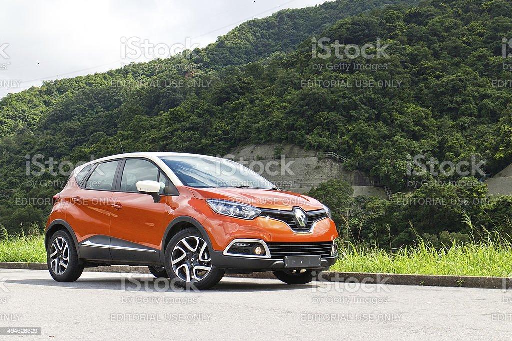 Renault CAPTUR dashboard on May 21 2014 in Hong Kong. stock photo
