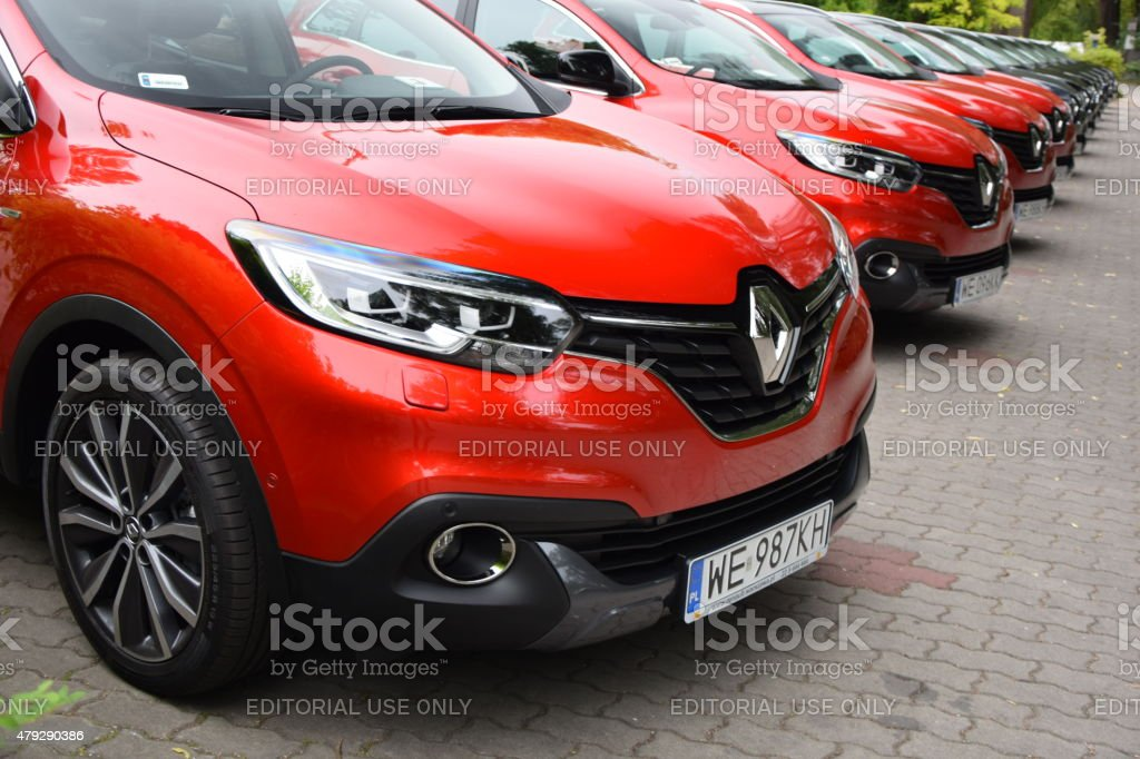Renault cars in a row stock photo