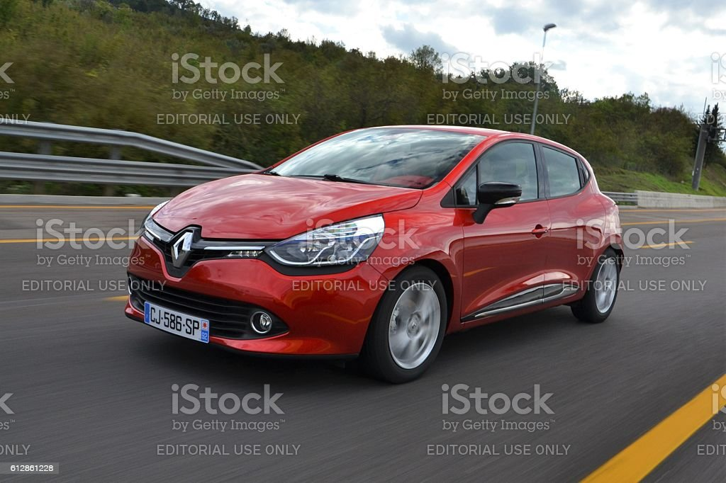 Renault Clio on the highway stock photo