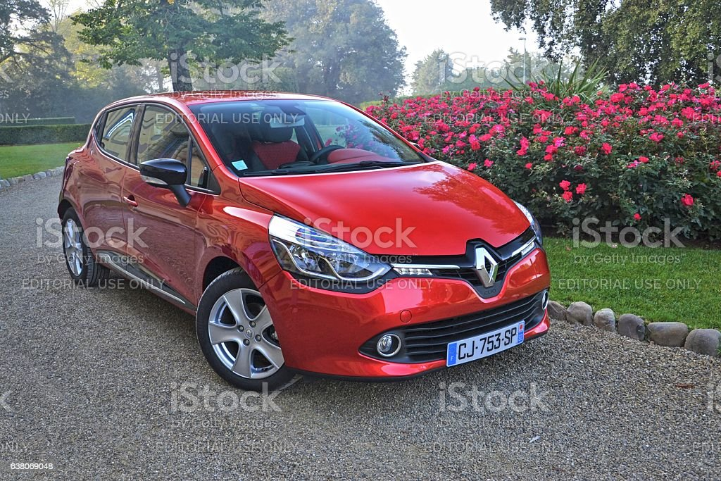 Renault Clio stopped on the road stock photo