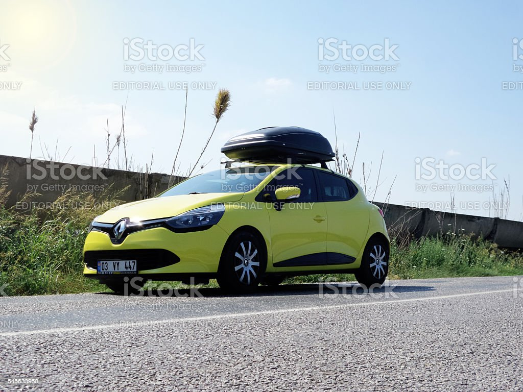Renault Clio with a cargo box stock photo