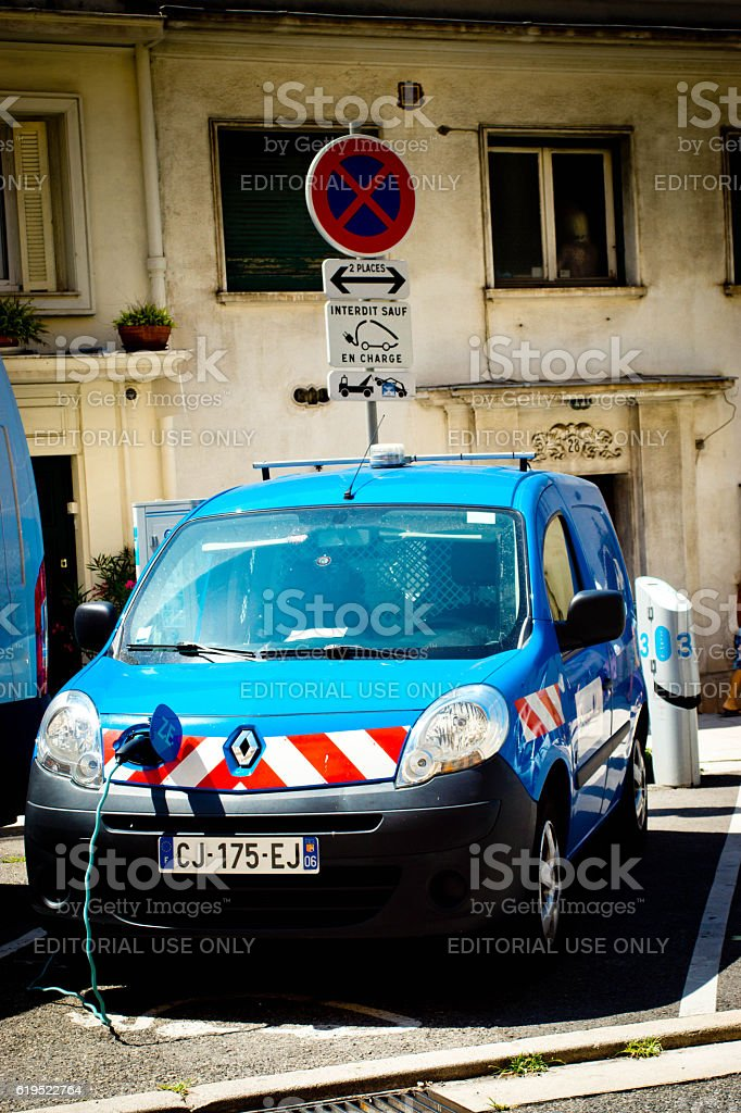 Renault electric vehicle charging stock photo