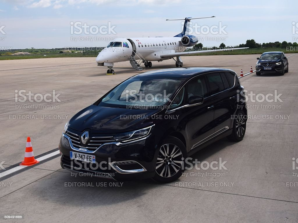 Renault Espace on the airport apron stock photo