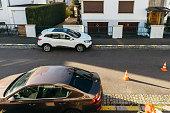 Renault Kadjar, Skoda Octavia and safety cone
