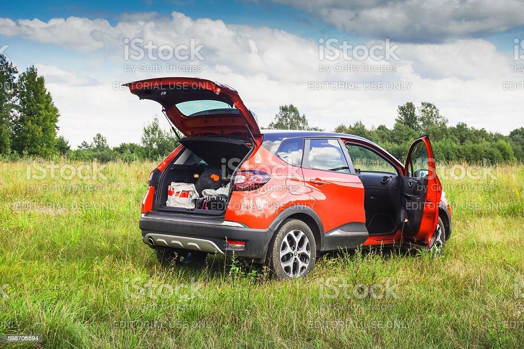 Renault Kaptur with open doors stock photo