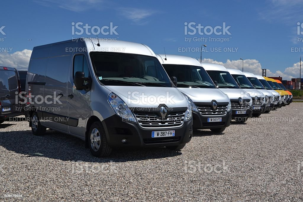 Renault Master vans in a row stock photo