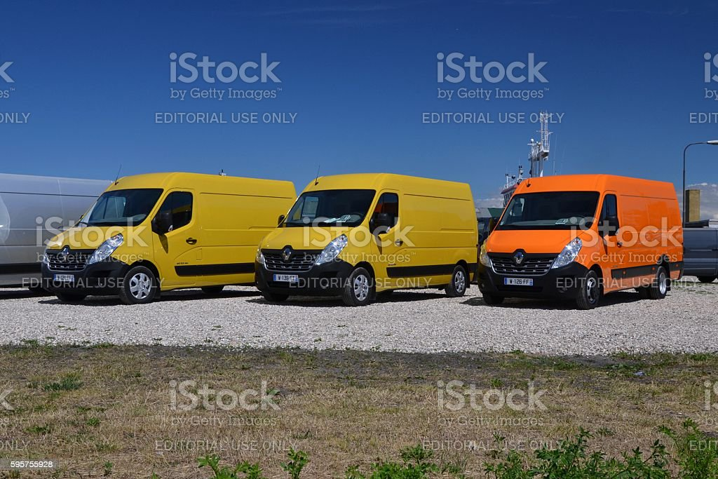 Renault Master vans on the parking stock photo
