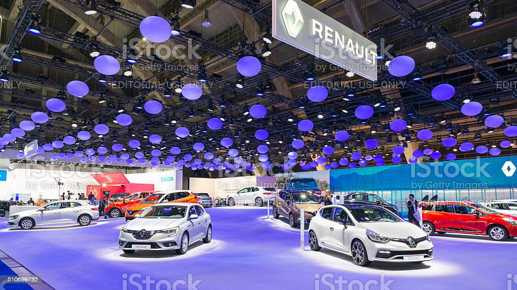 Renault motor show stand with Megane and Clio hatchback cars stock photo