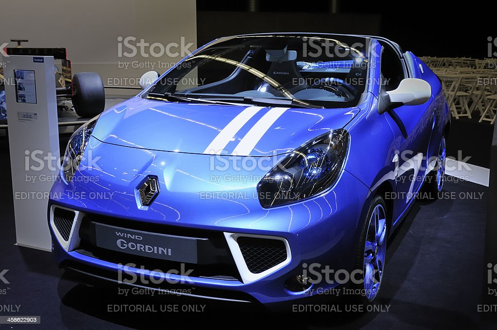 Renault WIND Gordini compact convertible car front view stock photo