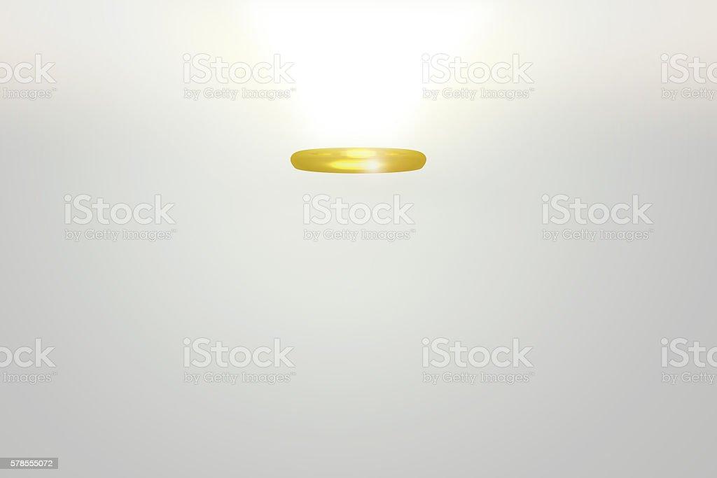3D rendeinr of golden angel halo stock photo