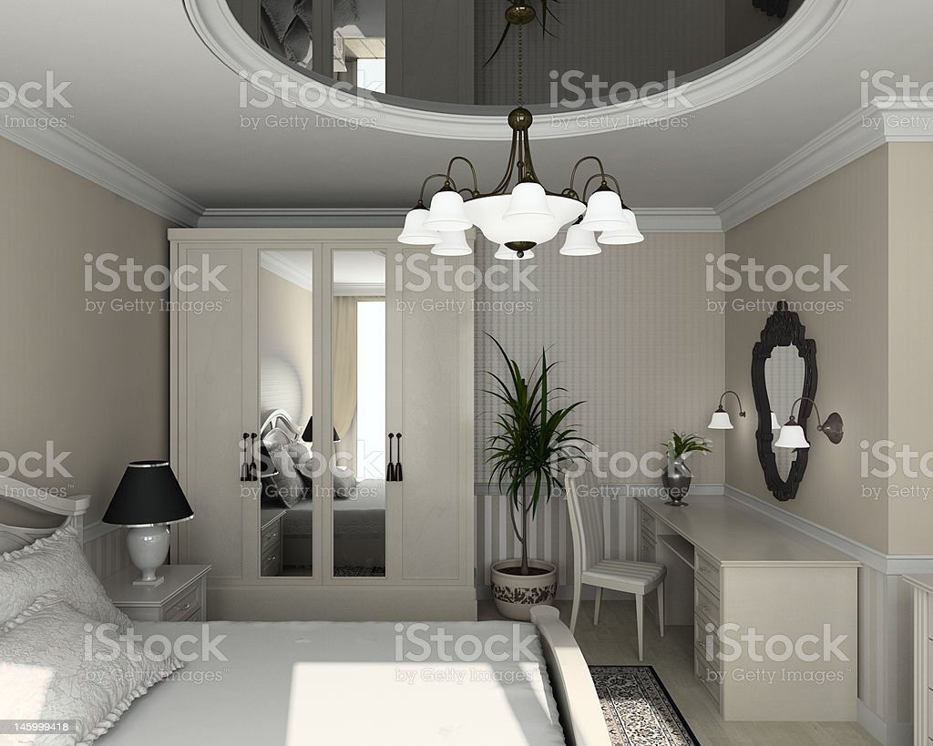 3D render classic interior of bedroom royalty-free stock photo