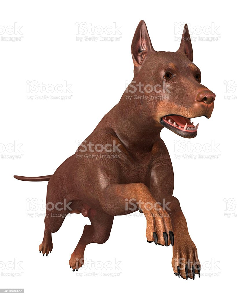 Render Dog Running vector art illustration